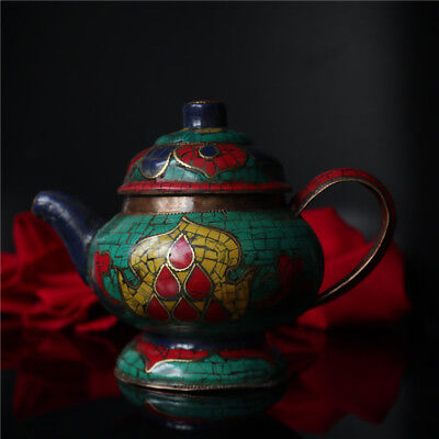 Old Tibet Antique Collect Bronze Inlay Turquoise Stone Teapot Pot Kettle Flagon