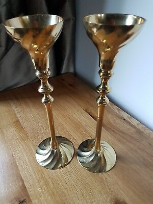 Vintage Tall Brass Pair of Heavy Goblet Style Candlesticks Beautiful Design