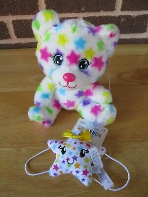 "Build A Bear Buddies 8"" Rainbow Star Bear Holding Rainbow Star Wristie All New"