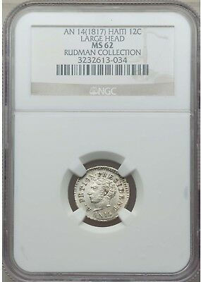 1817 Haiti 12c LARGE Head NGC Uncirculated MS62 AN 14 silver 12 cent