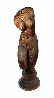 Studio Artisan Female Nude Hand Carved Natural Red Wood 17 In Art Sculpture