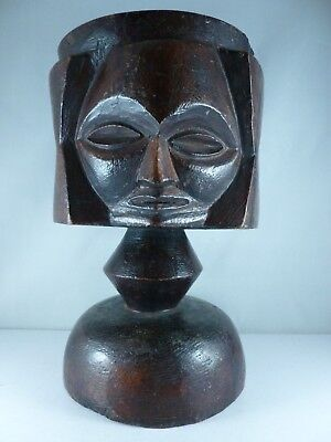 SUPERB large old African tribal 3 faced ceremonial palm wine cup vessel
