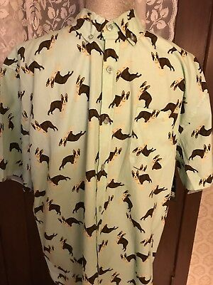 Mens Short Sleeve Button Down Shirt With Collar Boston Terrier Fathers Day Gift