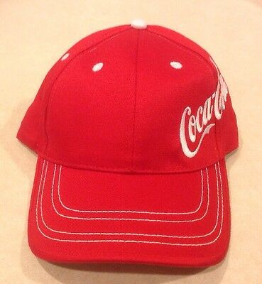 New Coca Cola Hat Baseball Cap Red White Side Logo One Size Adjustable