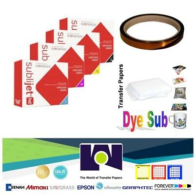 Sawgrass Ink Set SG400/SG800(CMYK) + 100Sh DyeSub Paper + 1 Roll Heat Tape