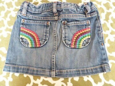 GAP Denim Girls 7 Rainbow Pocjet Stitch Jean Skirt Adjustable Waist