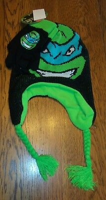 NWT Boys Teenage Mutant Ninja Turtles Leonardo Hat & Gloves Set ~One Size NEW