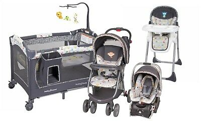Baby Trend Stroller Car Seat Playard Crib High Chair Travel System Combo Set