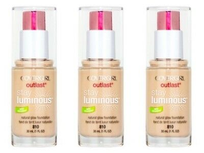 3 x COVERGIRL OUTLAST STAY LUMINOUS FOUNDATION MAKEUP 30ml - 810 CLASSIC IVORY