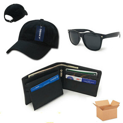 Father's Day 2018 Men's Gift Set Box for Dad Cap Leather Wallet Sunglasses