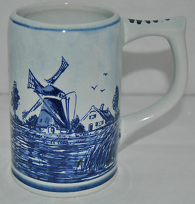 Beautiful Large Delft Blauw Classic Blue Glazed Windmill Beer Mug