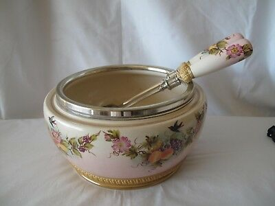 Antique Porcelain & Silver Plate Salad Bowl With Matching Servers