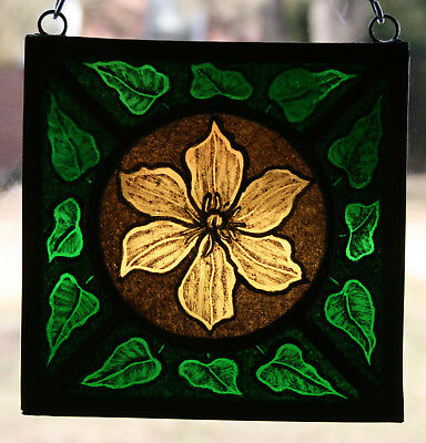Stained Glass,Hand Painted,Kiln Fired Clematis Flower # 1404-10