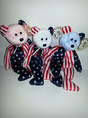 Ty Beanie Babies - Spangle - Set of 3 - Red, White and Blue