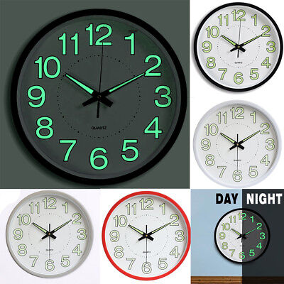 30cm Quartz Silent Sweep Wall Clock Round Large Number Night Light for Home