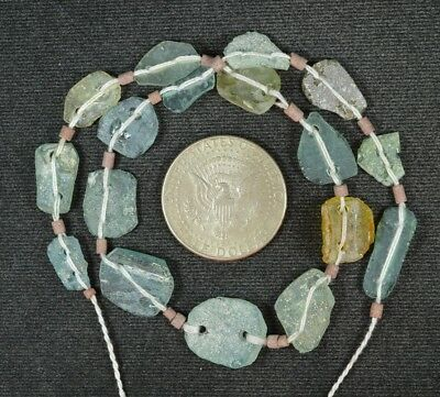 Ancient Roman Glass Beads 1 Medium Strand Aqua And Green 100 -200 Bc 850