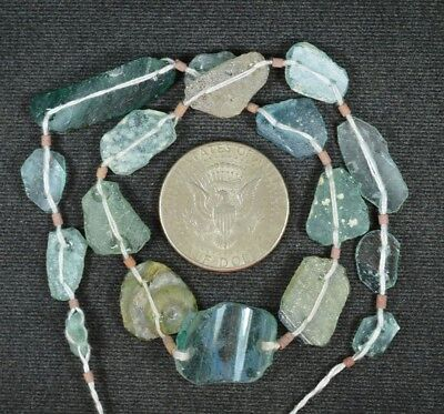 Ancient Roman Glass Beads 1 Medium Strand Aqua And Green 100 -200 Bc 851