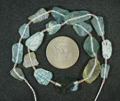Ancient Roman Glass Beads 1 Medium Strand Aqua And Green 100 -200 Bc 852