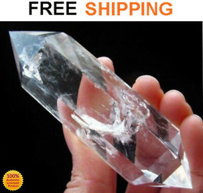 "QUARTZ CRYSTAL WAND NATURAL CLEAR Point Stone Healing Hexagonal 4-5"" EXTRA LARGE"