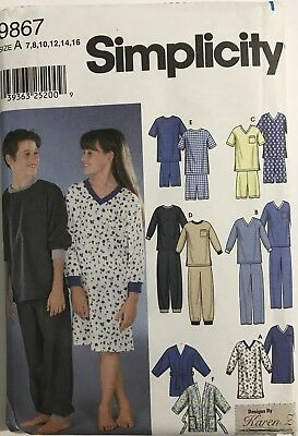 dd79e8fd92 9867 UNCUT Simplicity Sewing Pattern Girls   Boys 7-16 Pajamas Pjs  Nightshirt