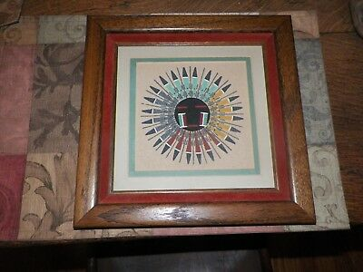 Navajo Native American Indian Sand Art SUN & EAGLE CEREMONIAL HEAL SICK  Signed