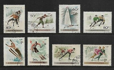 HUNGARY 1955 Winter Sports, Air mail, set of 8, used