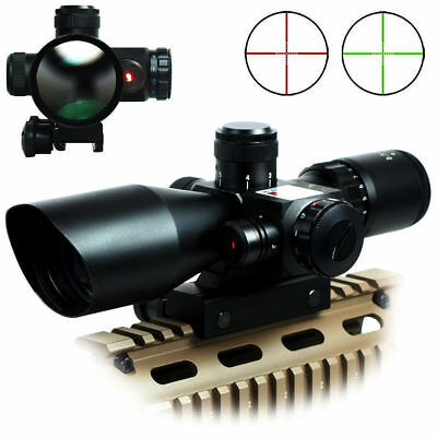 Tactical Rifle Scope Red&Green Mil-dot illuminated w/ Red Laser Mount 2.5-10x40