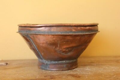 Antique copper Brewing funnel, sieve. Beer collectable.