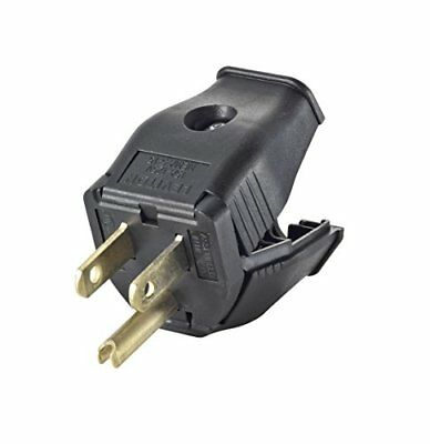 Leviton 3W101-E 2-Pole 3-Wire Grounding Plug, Black