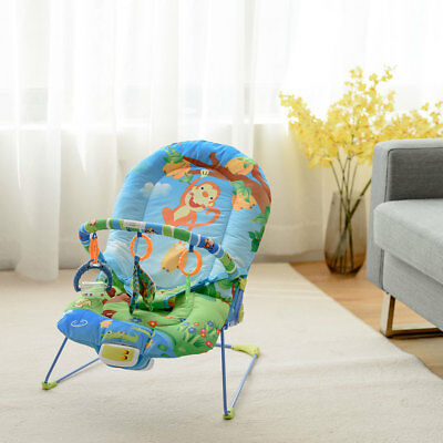 Adjustable Baby Bouncer Swing Rocker Reclining Chair W/ Toys Soothing Music Box