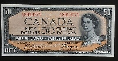 CANADA 1954 $50 BANK OF CANADA BANKNOTE BEAUTIFUL EF-45 + CONDITION!! BC-42a