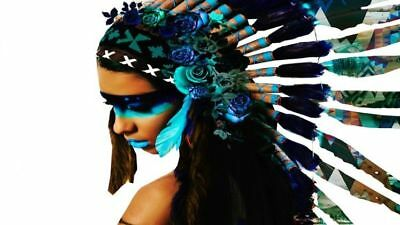Headdress Native-Indian-Girl High Quality Canvas print choose your size