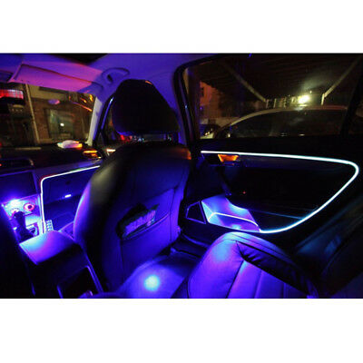 4M Blue LED Optical Fiber Light Strip Car SUV Dashboard Interior Decor Lamp