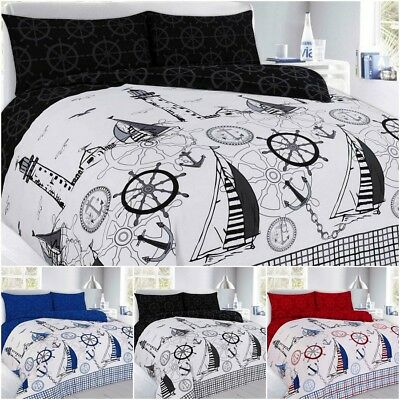 New Sailing Jake Nautical Print Design Duvet Quilt Cover Pillowcases Bedding Set