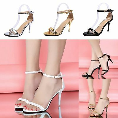 90a2fc2d67d Womens High Block Heel Stiletto Ladies Peep Toe Ankle Strappy Sandals Shoes  Size