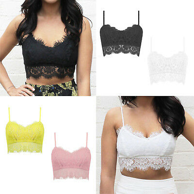 Womens Ladies Eyelash Lace Strappy Vest Top Unpadded Bralet Top Lace Bra Crop To