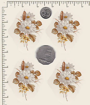 4 x Waterslide ceramic decals Decoupage White Flowers Daisies Floral  PD847