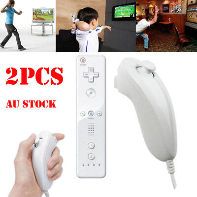 2x Wireless Game Controller Remote + Nunchuck for Nintendo Wii / WII U White AU