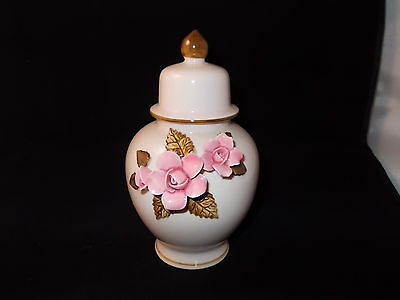 Porcelain Temple Jar Porcelainware Raised Pink Rose 15.5 cm Tall with