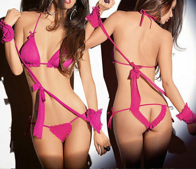 Babydoll Sexy lace Lingerie Sets Sheer Underwear baby doll dress Chemises PINK