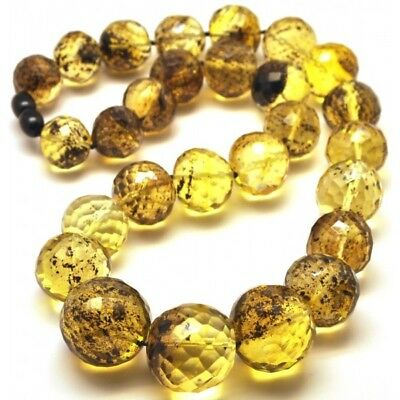 Baroque beads short faceted Baltic amber necklace 85 g.
