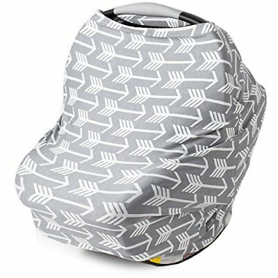 New 3-in-1 baby Car seat canopy, Nursing cover, Shopping cart cover gray stretch