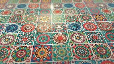 Sheet of Mandala tiles brights 1:12th scale dolls house sink kitchen bathroom