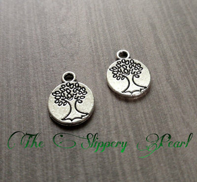 BULK Charms Circle Tree of Life Charms Antiqued Silver Tree Charms 2 Sided 50pcs