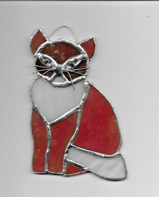 Cat Orange white  Stained Glass Sun Catcher  NEW 5.5in.T X 4 in.W  NEW