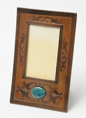 Antique Arts & Crafts Tooled Leather Photo Frame with Ruskin Cabochon