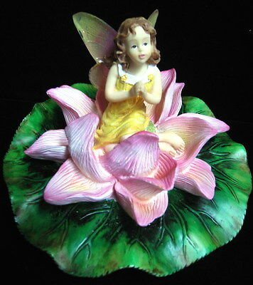 Praying Fairy On Pink Lilypad Pond Or Swimming Pool Floater Nib Garden Decor