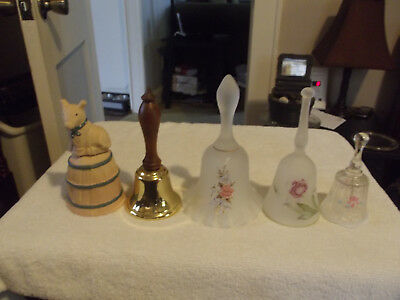 Lot of 5 Assorted Crystal & Brass Bells