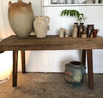 Rustic wooden butchers table killing block kitchen coffee table sideboard