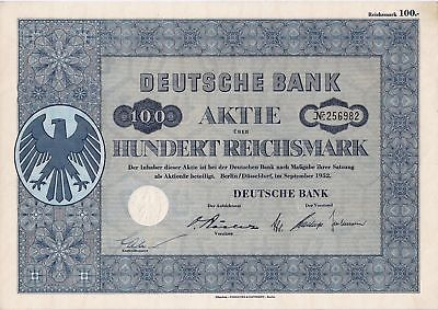 Lot of 10 Deutsche Bank german shares + coupons Berlin 1952 germany Aktien